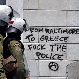 Graffiti in Athens in solidarity with Baltimore.